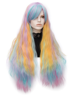 Carnival Hair Wigs Color Block Ombre Long Curly Layered Holiday Wigs With Side Bangs