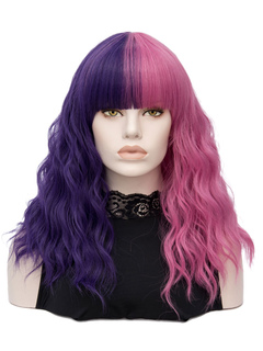 Carnival Hair Wigs Crimp Curls Purple Two Tone Long Tousled Synthetic Wigs With Blunt Bangs