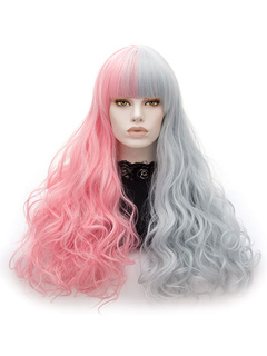 Long Carnival Wigs Two Tone Tousled Body Wave Women's Synthetic Holiday Wigs