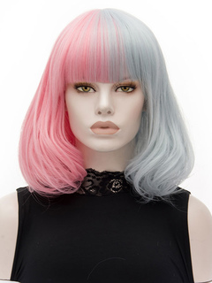 Women's Carnival Wigs Pink Two Tone Short Curly Layered Synthetic Wigs With Bangs