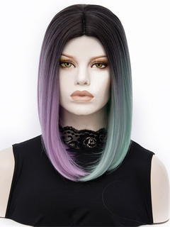 Women's Carnival Wigs Ombre Long Straight Layered Mint Green Synthetic Wigs