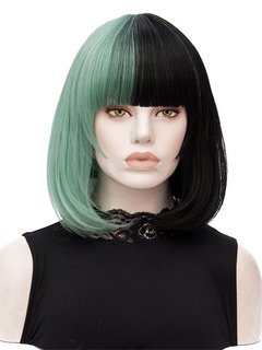 Women's Carnival Wigs Green Two Tone Short Straight Synthetic Wigs With Bangs