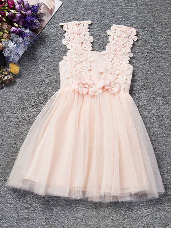 Tutu Flower Girl Dresses Lace Applique Toddler's Pageant Dress Peach Beading Short Kids Dinner Party Dresses