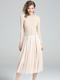 Khaki Knit Dress Round Neck Long Sleeve Draped Fake Two-Piece Style Long Dresses For Women