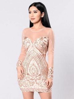 Gold Club Dress Round Neck Long Sleeve Sequins Semi Sheer Women's Bodycon Dresses
