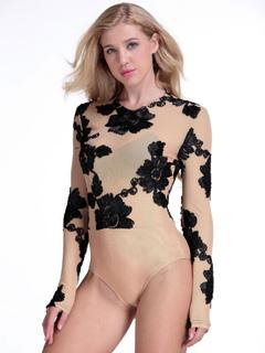 Black Women's Bodysuit Round Neck Long Sleeve Printed Bodysuit