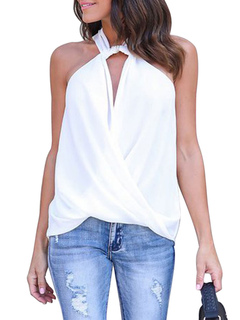 White Tee Top Twisted Designed Neckline Sleevelss Draped Cross Front Women's Tee Top