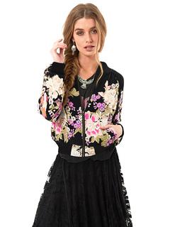 Black Bomber Jacket Round Neck Long Sleeve Printed Short Jacket For Women