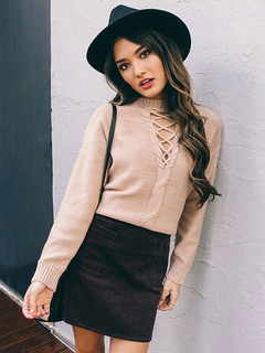 Apricot Pullover Sweater Crewneck Long Sleeve Lace Up Slim Fit Women's Sweater