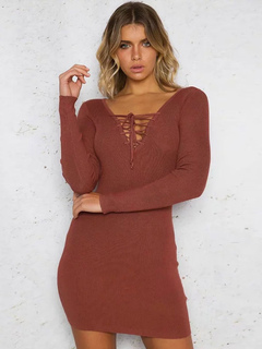Knit Sweater Dress Sexy V Neck Lace Up Long Sleeve Brick Red Skater Dresses For Women