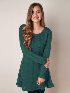 Ivory Knit Dress Round Neck Long Sleeve Women's Sweater Dresses