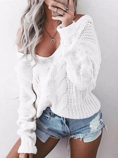 White Pullover Sweater Plunging Neck Long Sleeve Women's Sweater