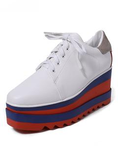 9e47e2fa3fa6 White Casual Shoes Platform PU Square Toe Color Block Lace Up Shoes For  Women