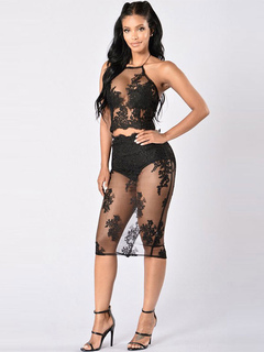 Black Club Skirts Set Lace Halter Sleeveless Jacquard Semi Sheer Sexy Long Skirt With Top For Women