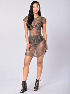 Camouflage Club Dress Round Neck Short Sleeve Semi Sheer Sexy Bodycon Dresses For Women