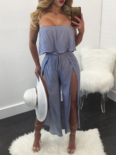 Blue Women's Jumpsuit Strapless Sleeveless Ruffles Striped Backless Split Loose Leg Long Jumpsuits