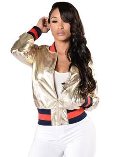 Gold PU Jacket Women's Round Neck Long Sleeve Metallic Short Jackets