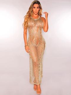 Gold Club Dress Round Neck Sleeveless Semi Sheer Metallic Crochet Split Long Dresses For Women