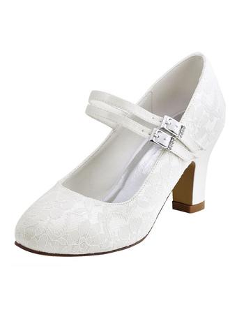 Zapatos de puntera redonda de tacón gordo de seda sintética con pedreríade lujo Fiesta de bodas 0pTGMhp
