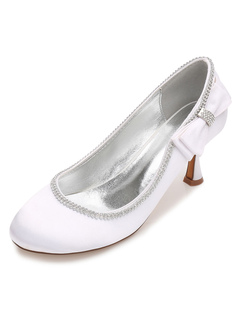 Zapatos de puntera redonda Tacón bobina de seda y satén con perlaselegantes para boda wOFKUD