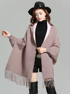 Brown Women's Ponchos Long Sleeve Fringe Cape Coat