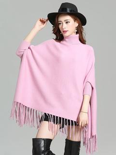 Pink Women's Ponchos Turtleneck Long Sleeve Fringe Cape Coat