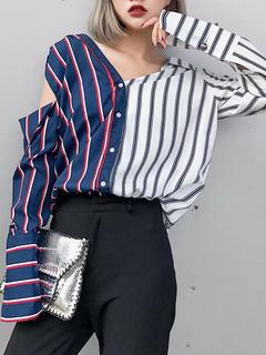 Blue Casual Shirt Striped Asymmetrical Design Long Sleeve Cut Out Women's Stylish Shirt