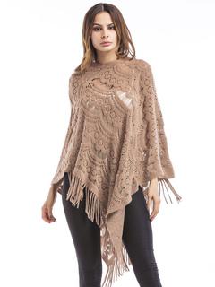 Women Wrap Poncho Fringed V Neck Long Sleeve Pleated Crochet Poncho