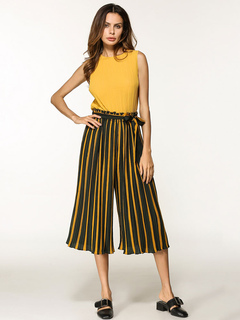 Yellow Pants Set Round Neck Sleeveless Top With Striped Wide Leg Long Pants