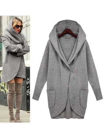 Deep Grey Coat Hooded Long Sleeve Long Women's Casual Coats