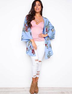 Light Blue Kimono Long Sleeve Floral Print Split Women's Top