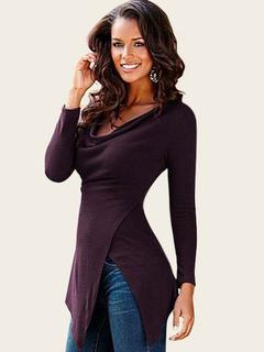 Burgundy T Shirt Long Sleeve Cowl Neck Split Asymmetrical Women's T Shirts