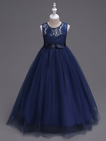 c665ef0700 Flower Girl Dresses Princess Dark Navy Tutu Dress Sleeveless Lace Tulle  Kids Pageant Dresses