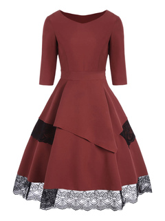 Women Vintage Dress 1950s Lace Brick Red Round Neck Half Sleeve Swing Dresses