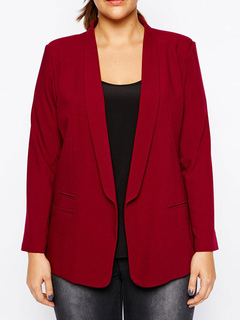 Plus Size Blazer Burgundy Long Sleeve Women's Casual Suits