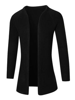 Black Cardigan Sweater Men's Long Sleeve Open Front Regular Fit Sweaters