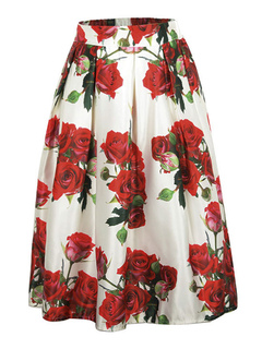 White Long Skirt Pleated Floral Print A Line Skirts For Women