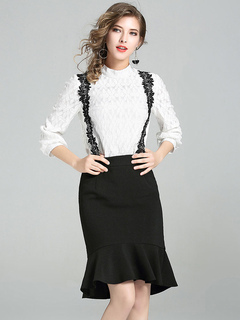 White Dress Set Lace High Collar Two Tone Top With Ruffles Mermaid Jumper Skirt For Women