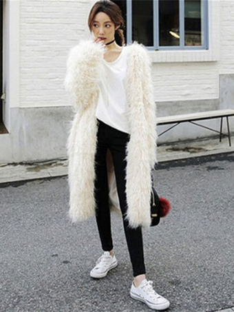 Women Faux Fur Coat Long Sleeve Oversized Long White Overcoat