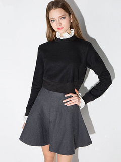 Black Pullover Sweater Ruffles Long Sleeve Two Tone Women's Casual Sweatshirt