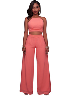 Pink Pants Set Women's Straps Sleeveless Crop Top With Long Pants