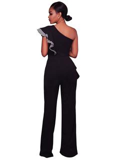 Black Women's Jumpsuit One Shoulder Sleeveless Ruffles Striped Asymmetrical Long Jumpsuits