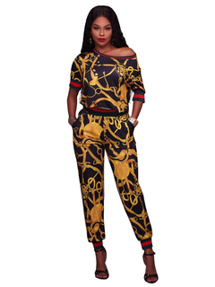 Yellow Pants Set Round Neck Short Sleeve Printed Top With Long Pants For Women