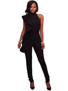 Black Women's Jumpsuit High Collar Sleeveless Ruffles Asymmetrical Skinny Long Jumpsuits