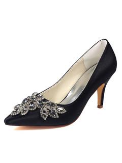 Zapatos de puntera puntiaguada de tacón de kitten de encaje con pedreríaelegantes Fiesta de bodas ZjEWXB0