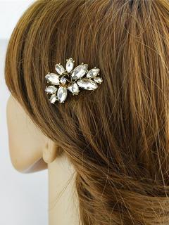 Golden Hair Comb Crystal Beading Petal Design Women's Jelly Hairpin