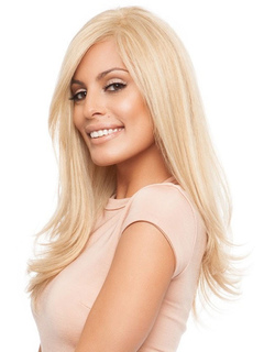 Long Blonde Wigs Curls At Ends Side Swept Bangs Layered Women's Human Hair Wigs