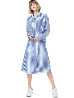 Blue Shirt Dress Striped Turndown Collar Long Sleeve Buttons Waist Tie Women's Midi Dress