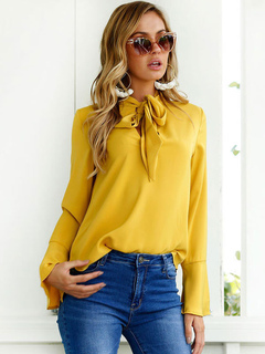 Chiffon Yellow Blouse Embellished Collar Knotted Long Flare Sleeve Women's Casual Shirt