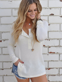 Women's White Sweater Round Neck Long Sleeve Slit Buttons Decor Casual Bottoming Sweater